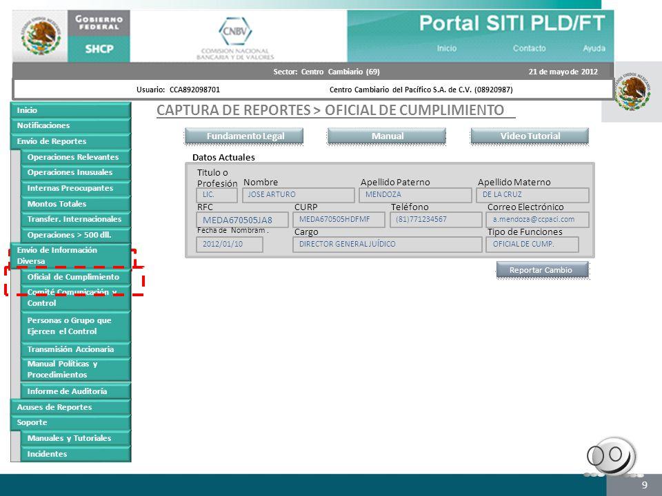 Futuro portal CAPTURA DE REPORTES > OFICIAL DE CUMPLIMIENTO