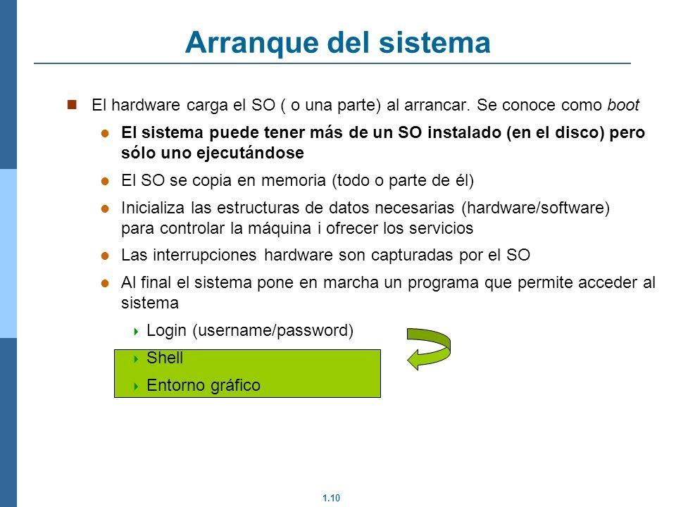 Arranque del sistema El hardware carga el SO ( o una parte) al arrancar. Se conoce como boot.