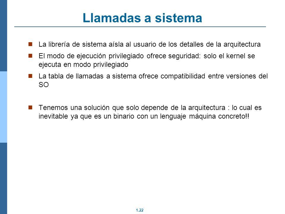 Llamadas a sistema La librería de sistema aísla al usuario de los detalles de la arquitectura.