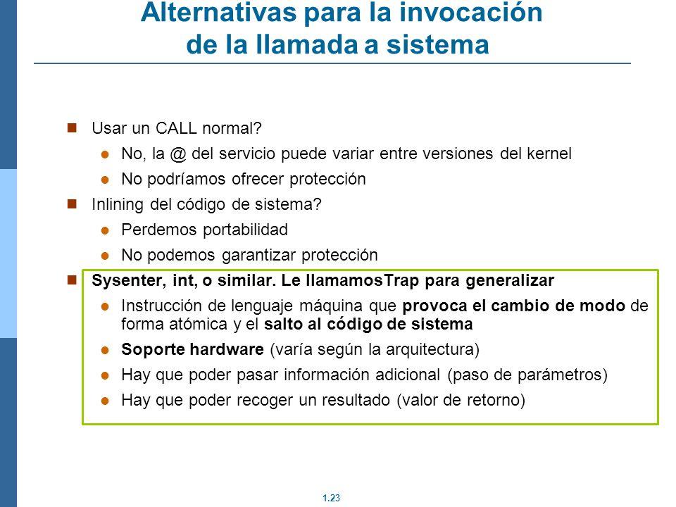 Alternativas para la invocación de la llamada a sistema