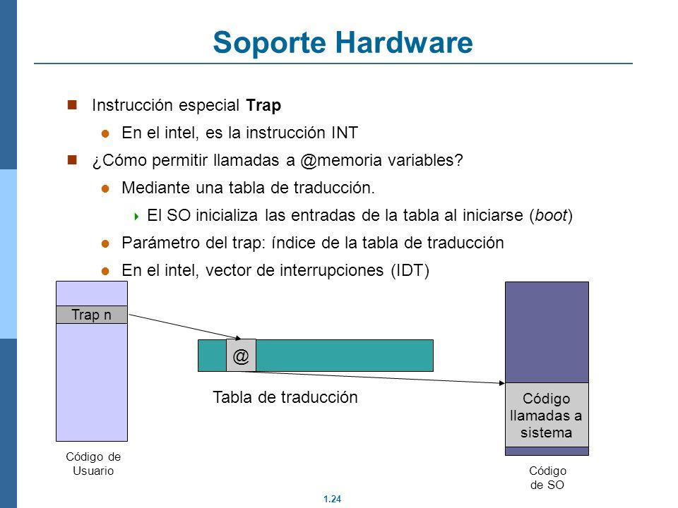 Soporte Hardware Instrucción especial Trap