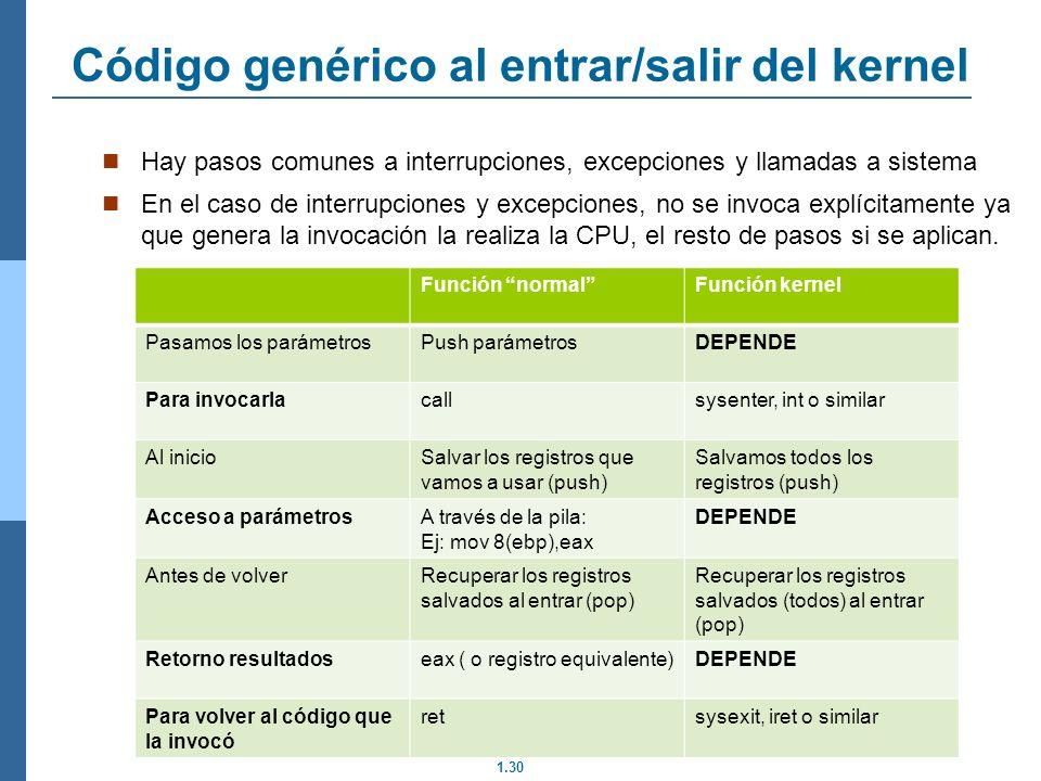 Código genérico al entrar/salir del kernel