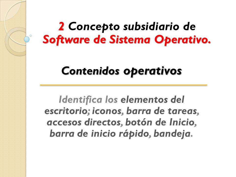 2 Concepto subsidiario de Software de Sistema Operativo.
