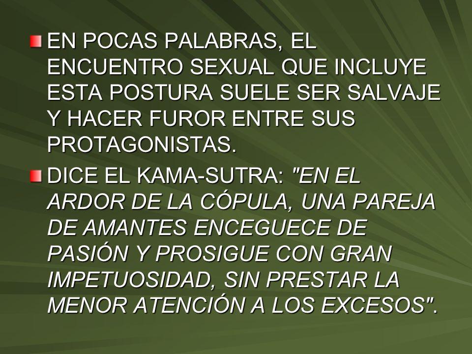 EN POCAS PALABRAS, EL ENCUENTRO SEXUAL QUE INCLUYE ESTA POSTURA SUELE SER SALVAJE Y HACER FUROR ENTRE SUS PROTAGONISTAS.