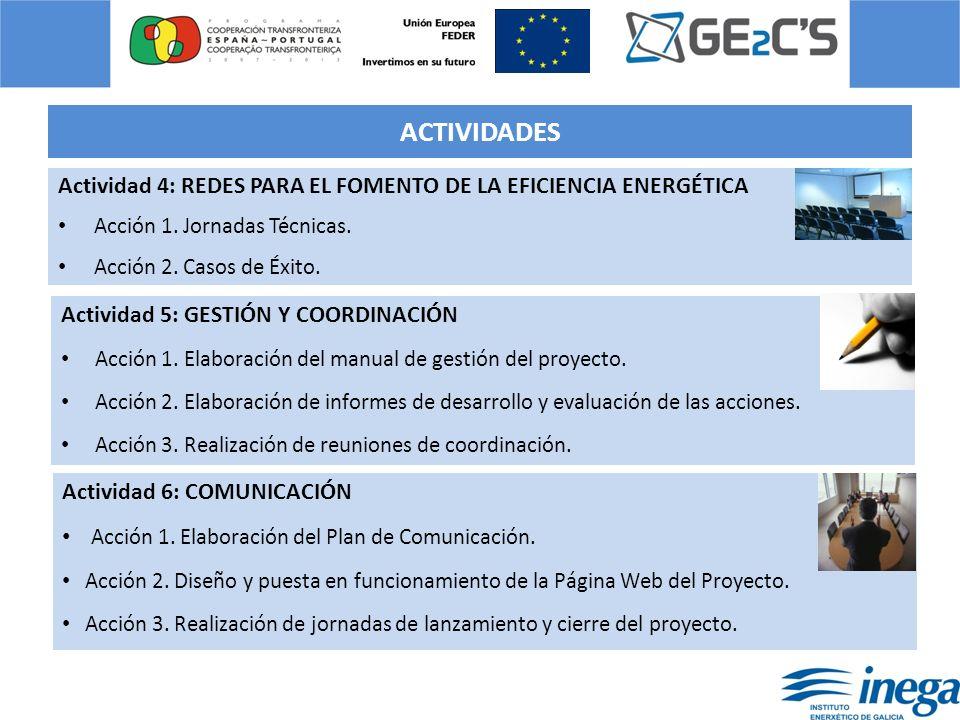 ACTIVIDADES Actividad 4: REDES PARA EL FOMENTO DE LA EFICIENCIA ENERGÉTICA Acción 1. Jornadas Técnicas.