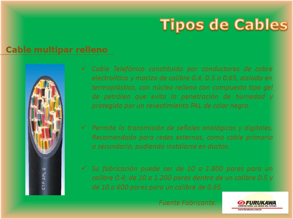 Tipos de Cables Cable multipar relleno