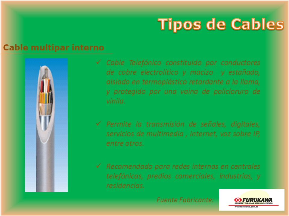 Cable multipar interno
