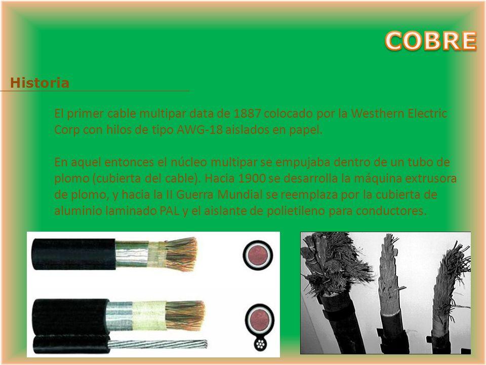 COBRE Historia. El primer cable multipar data de 1887 colocado por la Westhern Electric Corp con hilos de tipo AWG-18 aislados en papel.