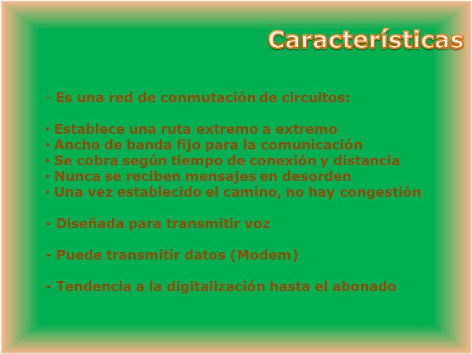 Características Es una red de conmutación de circuitos: