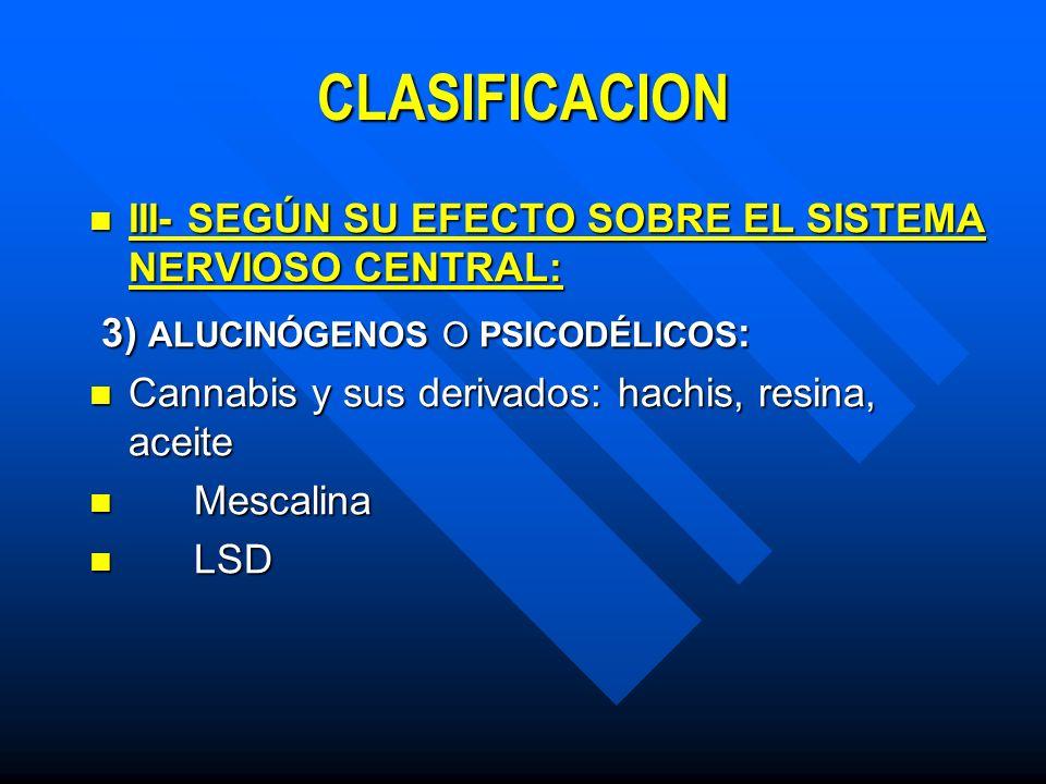 CLASIFICACION 3) ALUCINÓGENOS O PSICODÉLICOS: