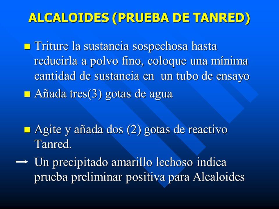 ALCALOIDES (PRUEBA DE TANRED)