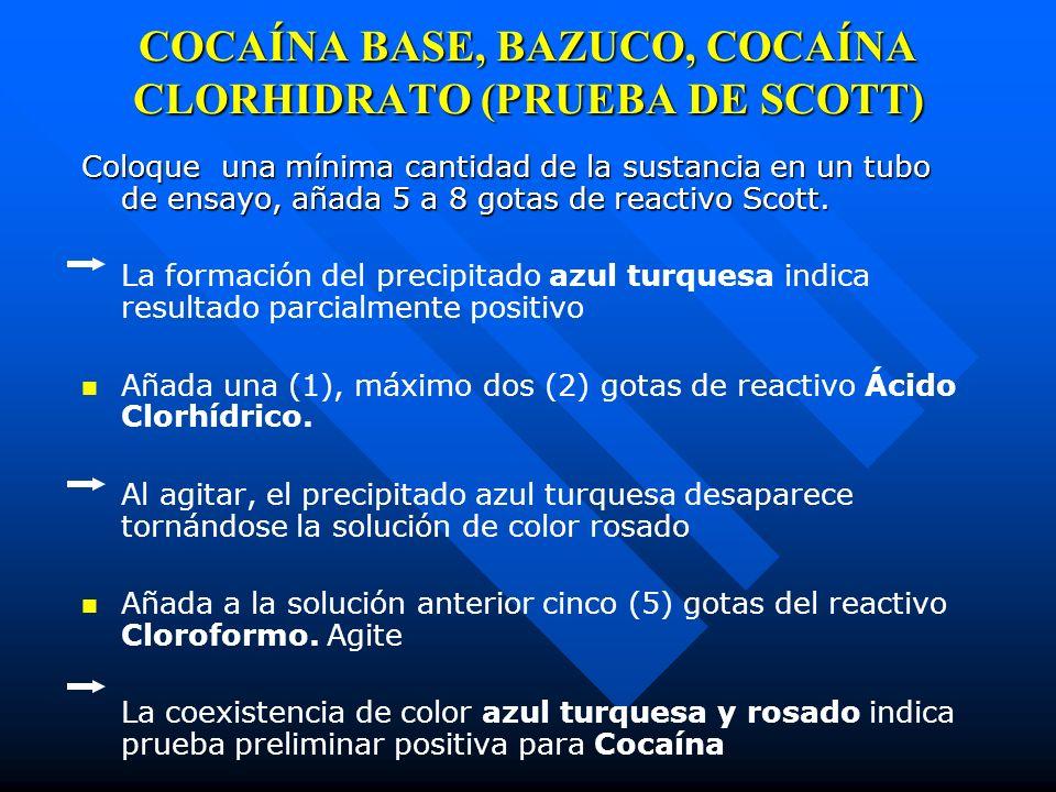 COCAÍNA BASE, BAZUCO, COCAÍNA CLORHIDRATO (PRUEBA DE SCOTT)