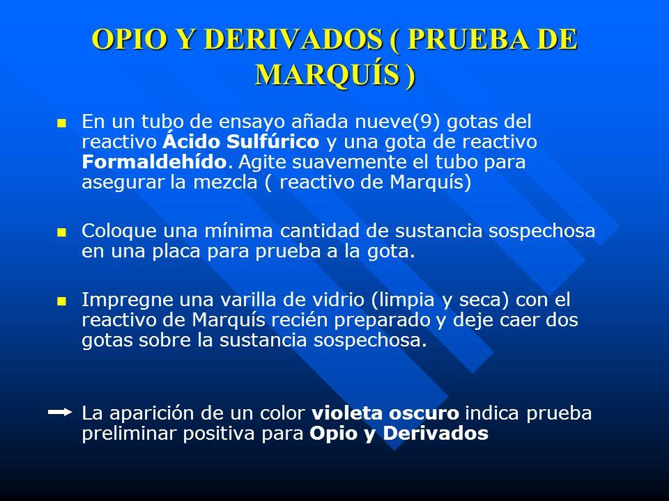 OPIO Y DERIVADOS ( PRUEBA DE MARQUÍS )