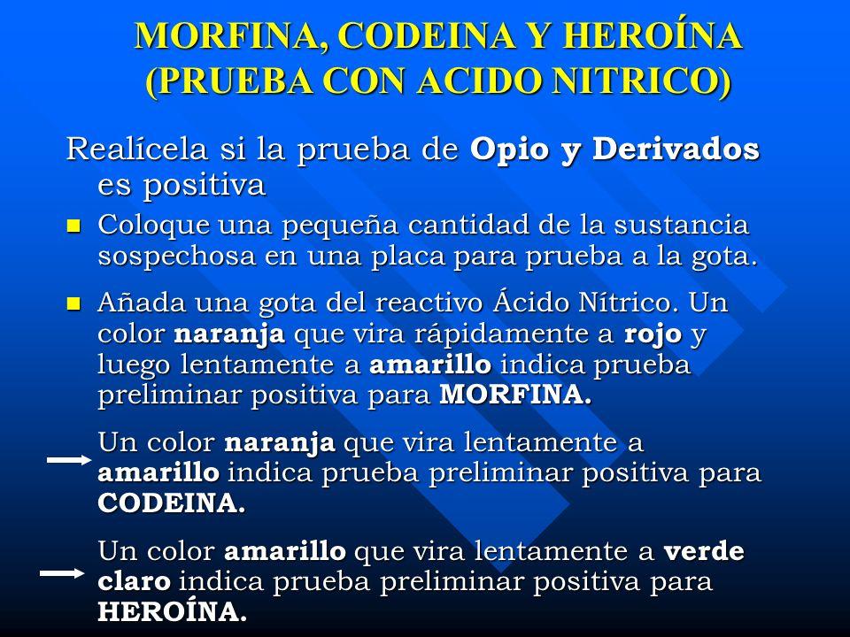 MORFINA, CODEINA Y HEROÍNA (PRUEBA CON ACIDO NITRICO)