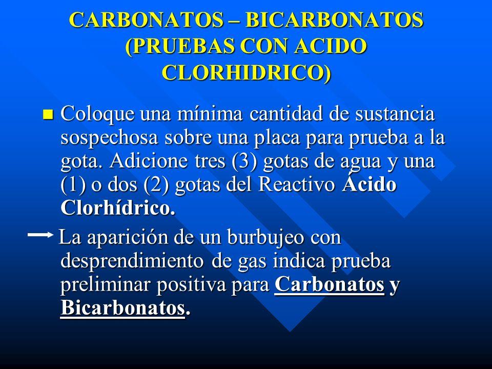 CARBONATOS – BICARBONATOS (PRUEBAS CON ACIDO CLORHIDRICO)