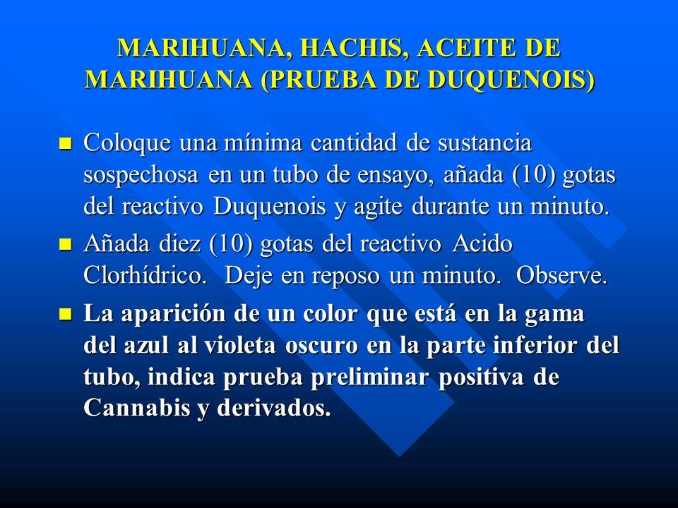 MARIHUANA, HACHIS, ACEITE DE MARIHUANA (PRUEBA DE DUQUENOIS)