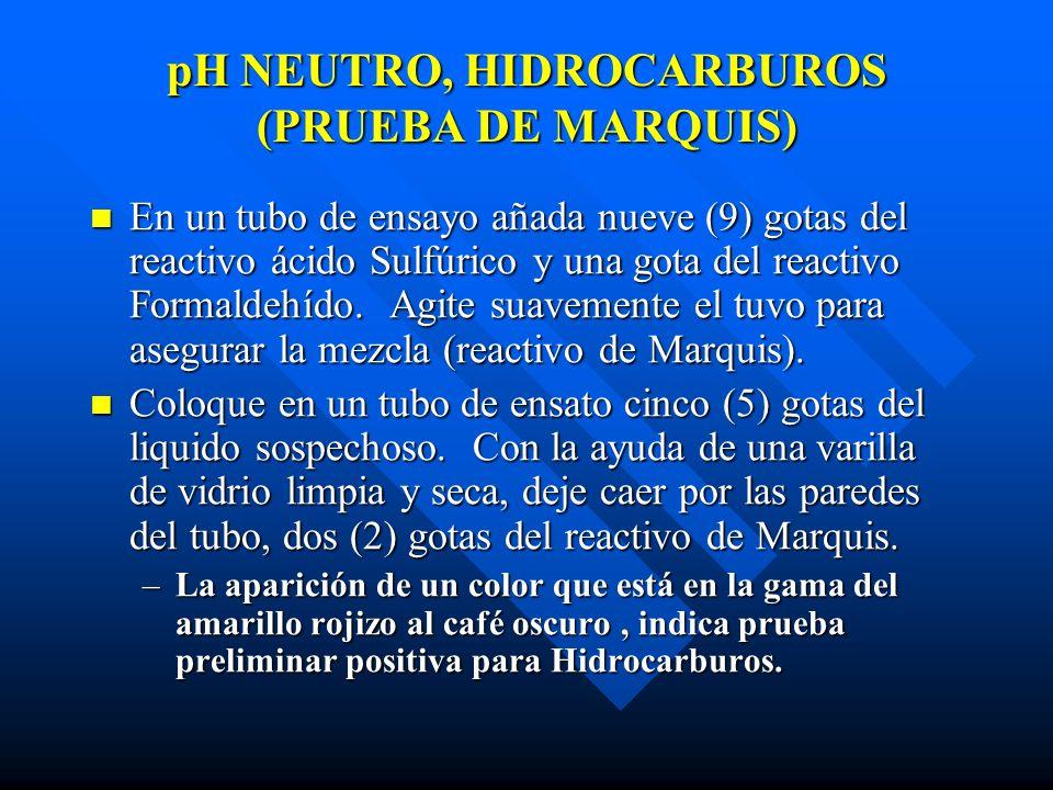 pH NEUTRO, HIDROCARBUROS (PRUEBA DE MARQUIS)