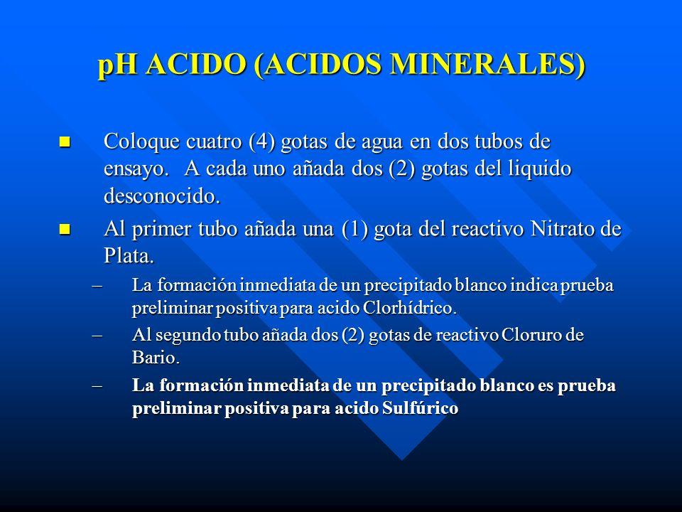 pH ACIDO (ACIDOS MINERALES)