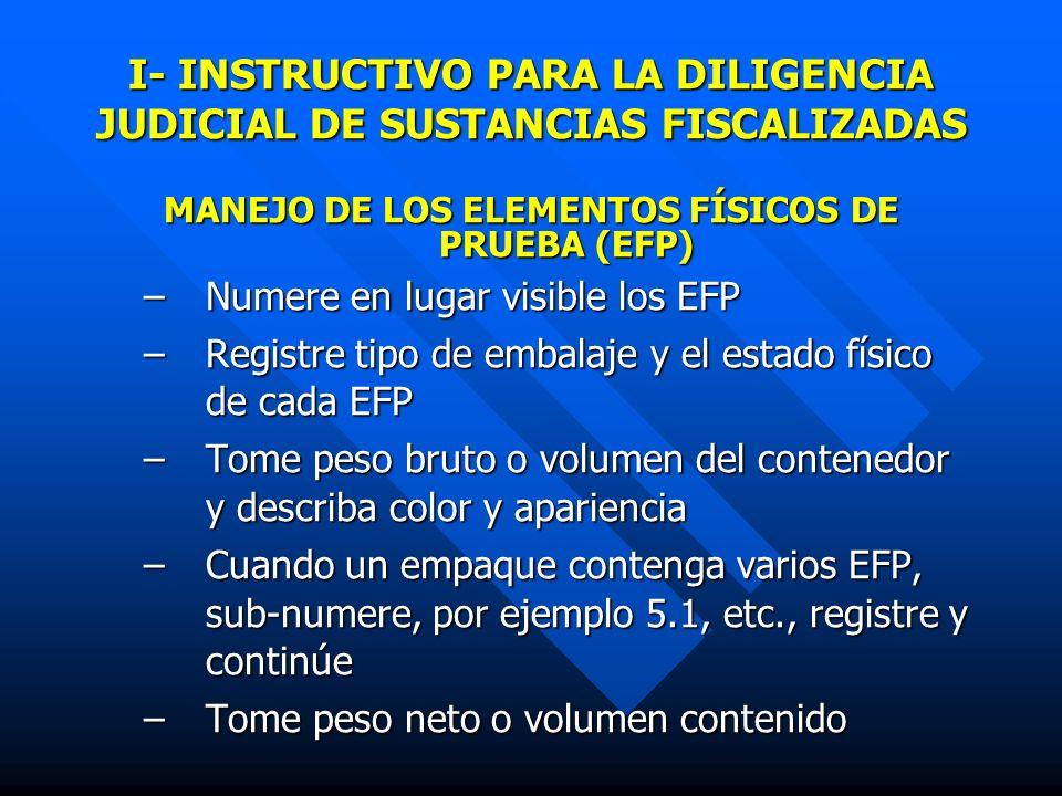 I- INSTRUCTIVO PARA LA DILIGENCIA JUDICIAL DE SUSTANCIAS FISCALIZADAS
