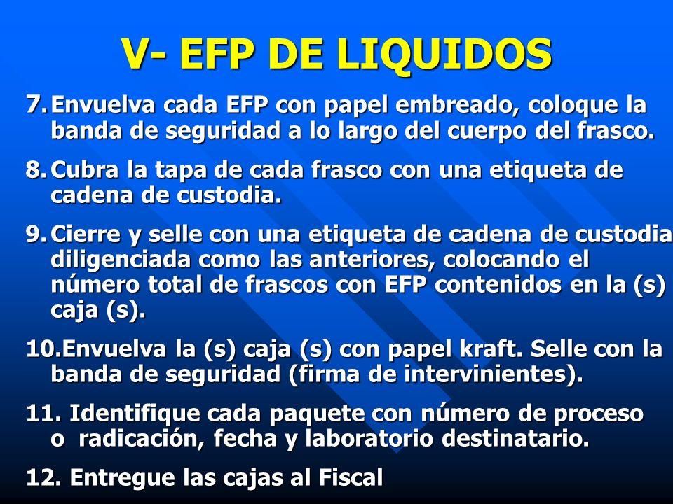 V- EFP DE LIQUIDOS 7. Envuelva cada EFP con papel embreado, coloque la banda de seguridad a lo largo del cuerpo del frasco.