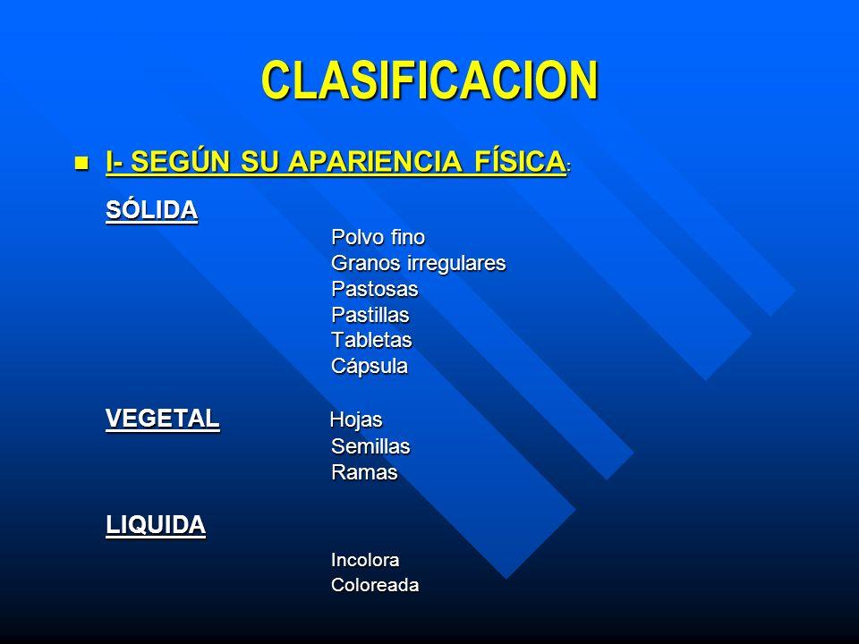 CLASIFICACION I- SEGÚN SU APARIENCIA FÍSICA: Incolora