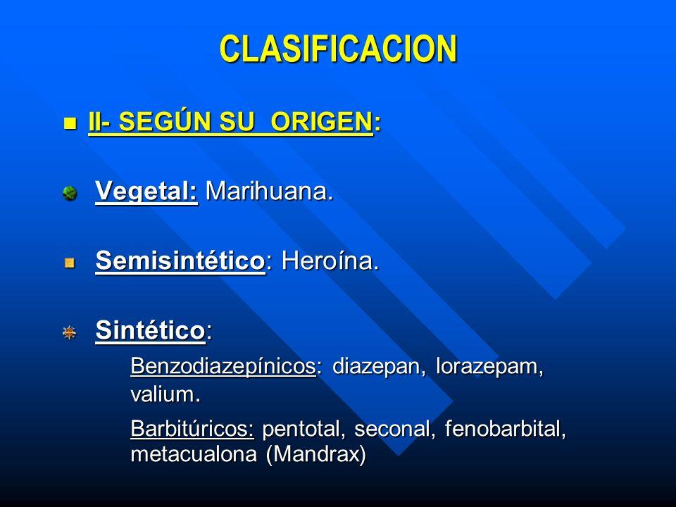 CLASIFICACION II- SEGÚN SU ORIGEN: Vegetal: Marihuana.