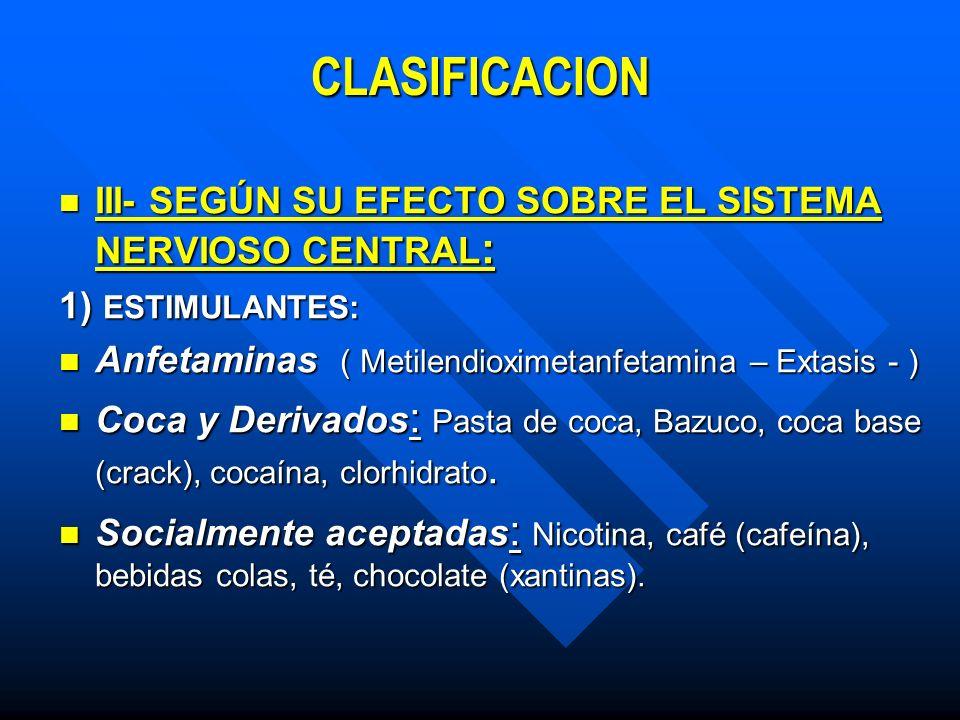CLASIFICACION III- SEGÚN SU EFECTO SOBRE EL SISTEMA NERVIOSO CENTRAL: