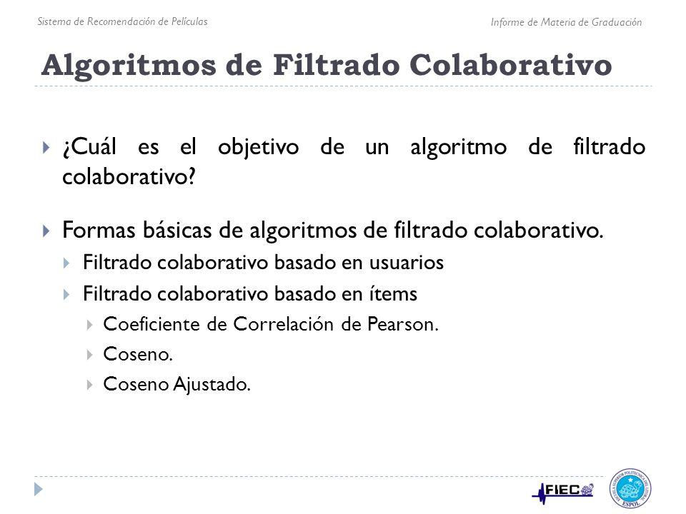 Algoritmos de Filtrado Colaborativo