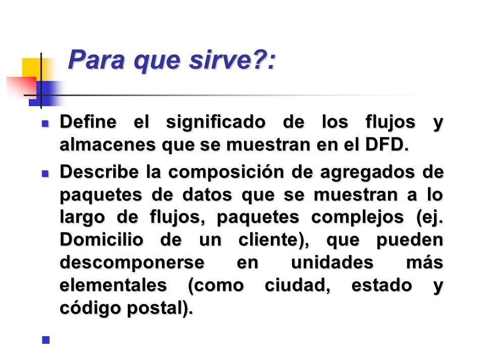 Para que sirve : Define el significado de los flujos y almacenes que se muestran en el DFD.