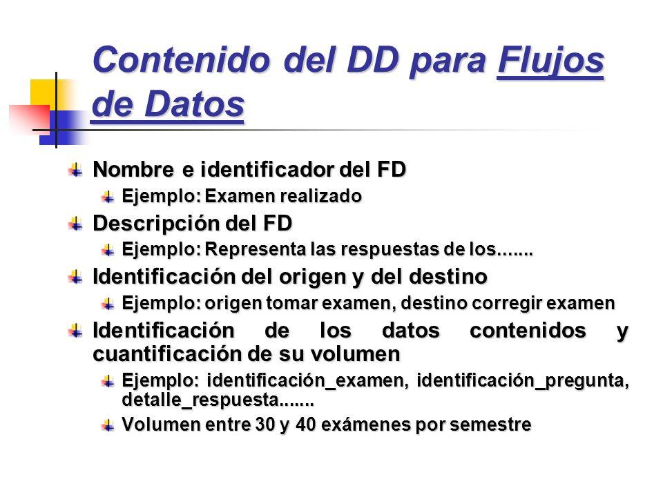 Contenido del DD para Flujos de Datos