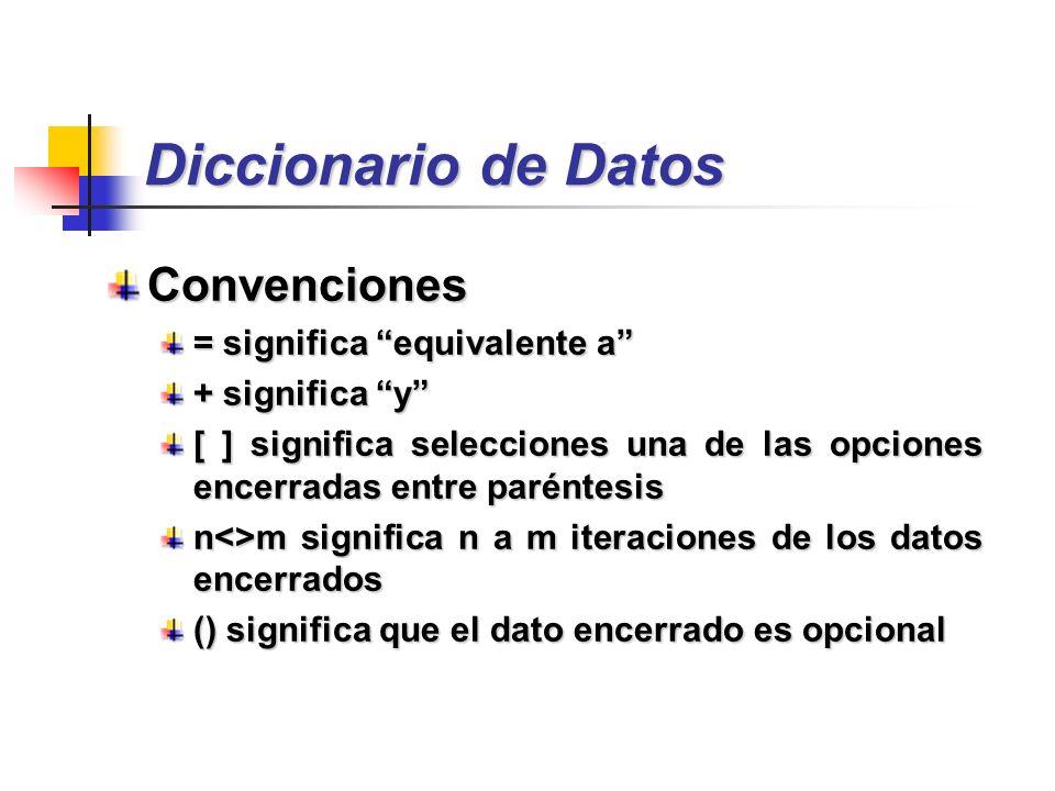 Diccionario de Datos Convenciones = significa equivalente a