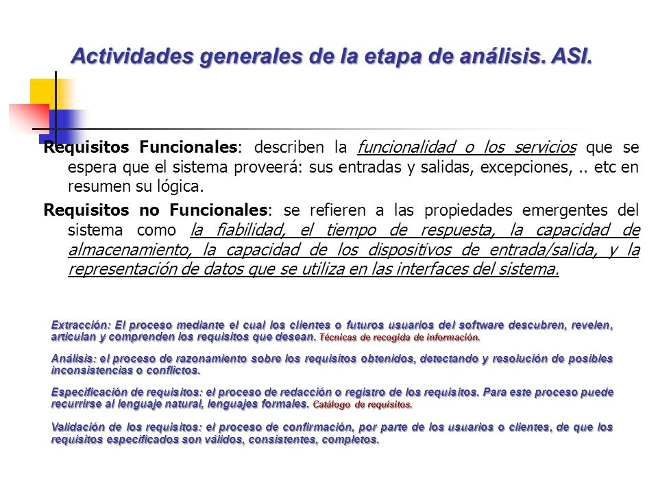 Actividades generales de la etapa de análisis. ASI.