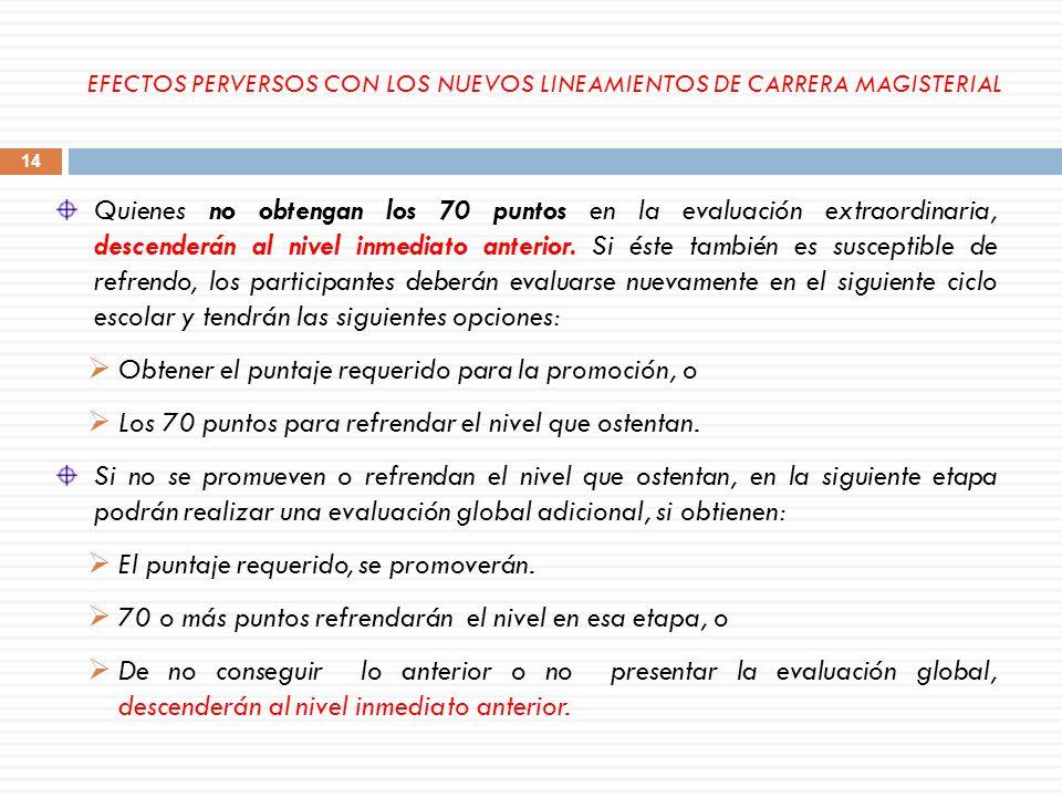 EFECTOS PERVERSOS CON LOS NUEVOS LINEAMIENTOS DE CARRERA MAGISTERIAL