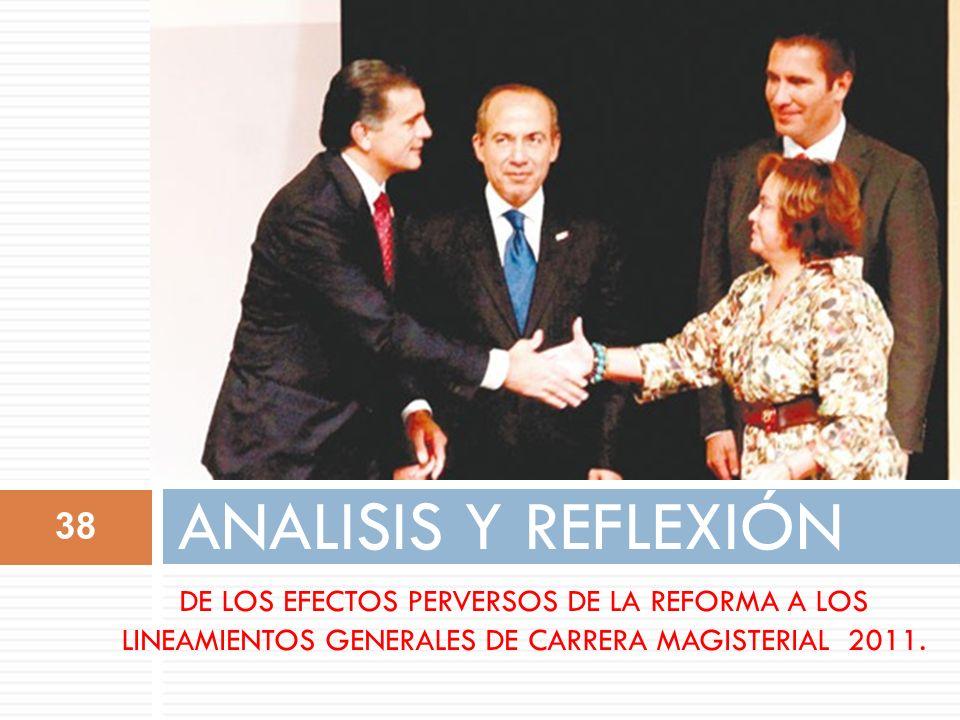ANALISIS Y REFLEXIÓN DE LOS EFECTOS PERVERSOS DE LA REFORMA A LOS LINEAMIENTOS GENERALES DE CARRERA MAGISTERIAL 2011.