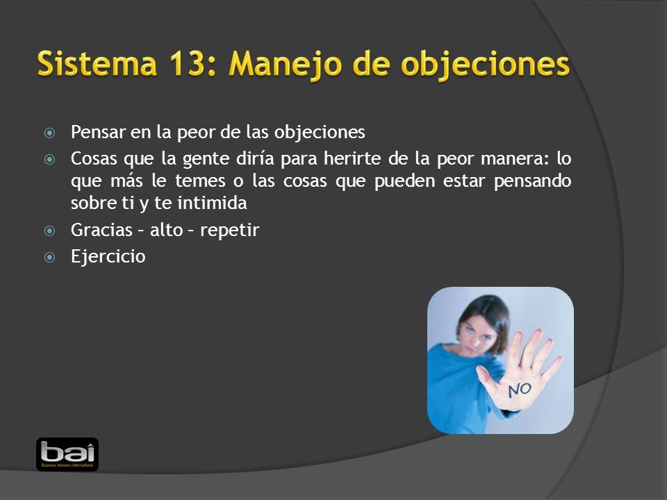 Sistema 13: Manejo de objeciones