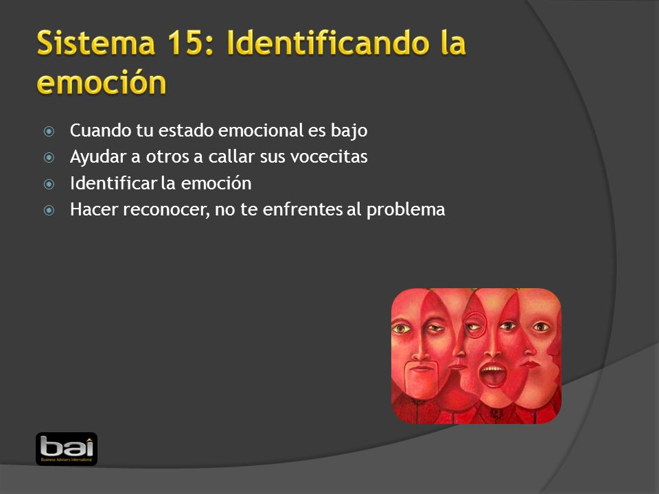Sistema 15: Identificando la emoción