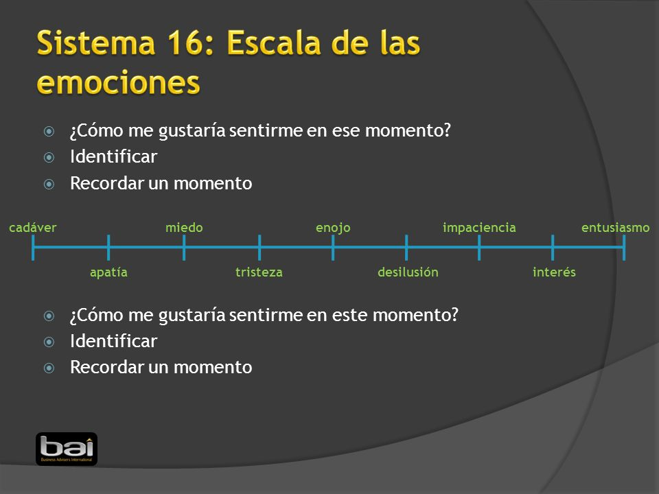 Sistema 16: Escala de las emociones