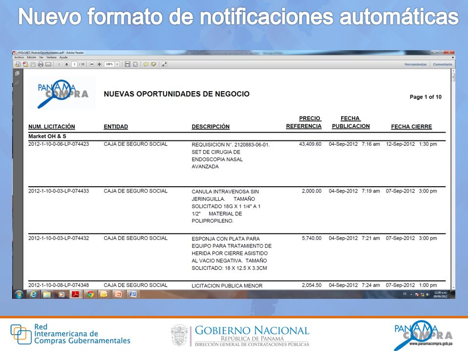 Nuevo formato de notificaciones automáticas