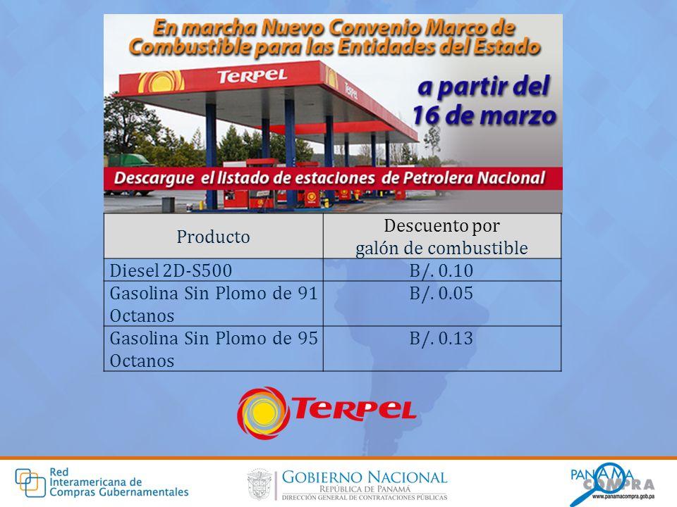 Producto Descuento por. galón de combustible. Diesel 2D-S500. B/. 0.10. Gasolina Sin Plomo de 91 Octanos.