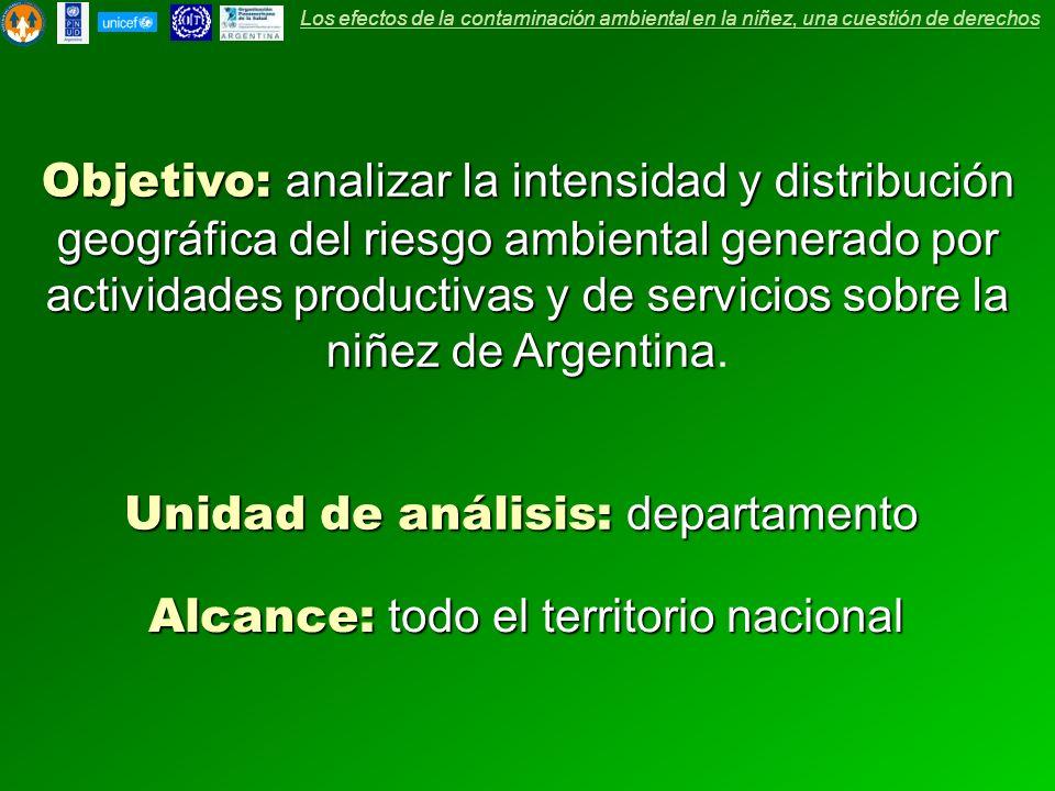 Unidad de análisis: departamento