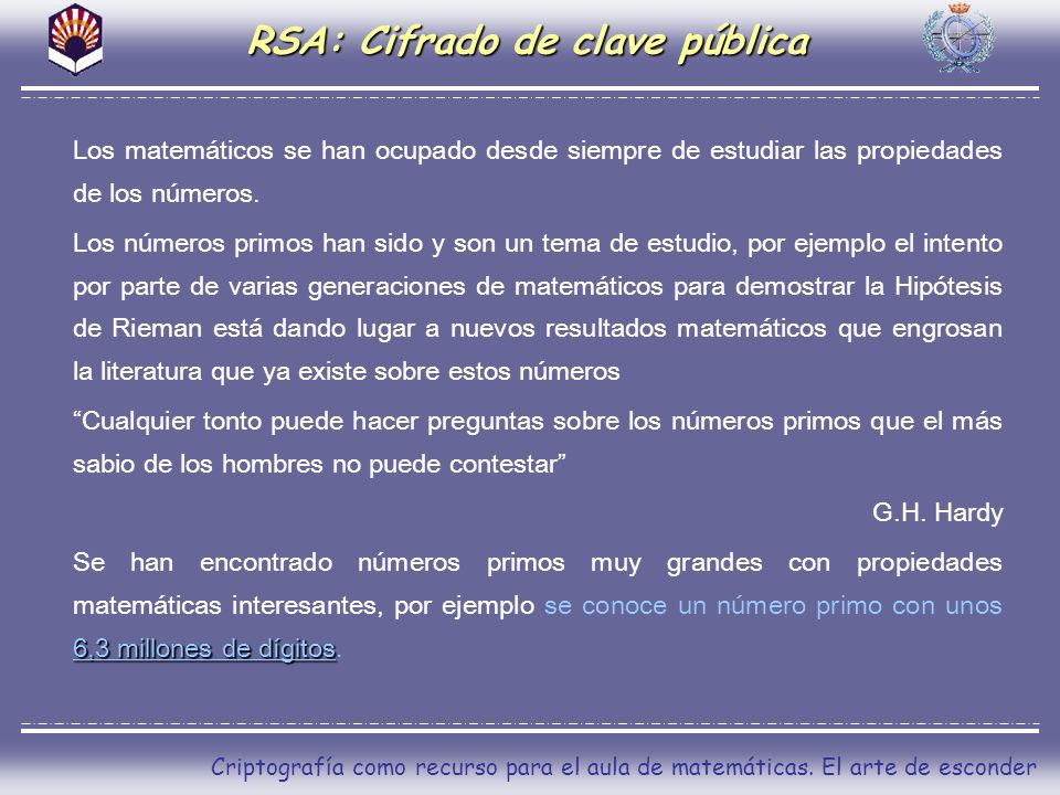RSA: Cifrado de clave pública