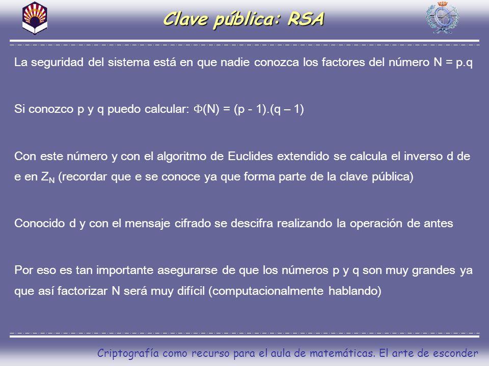 Clave pública: RSA La seguridad del sistema está en que nadie conozca los factores del número N = p.q.