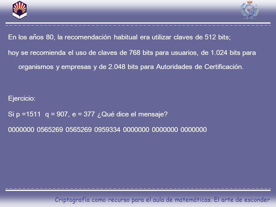 Si p =1511 q = 907, e = 377 ¿Qué dice el mensaje