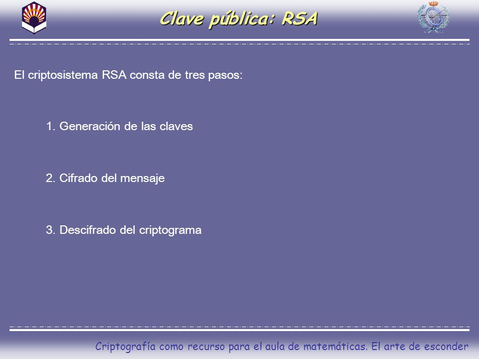 Clave pública: RSA El criptosistema RSA consta de tres pasos: