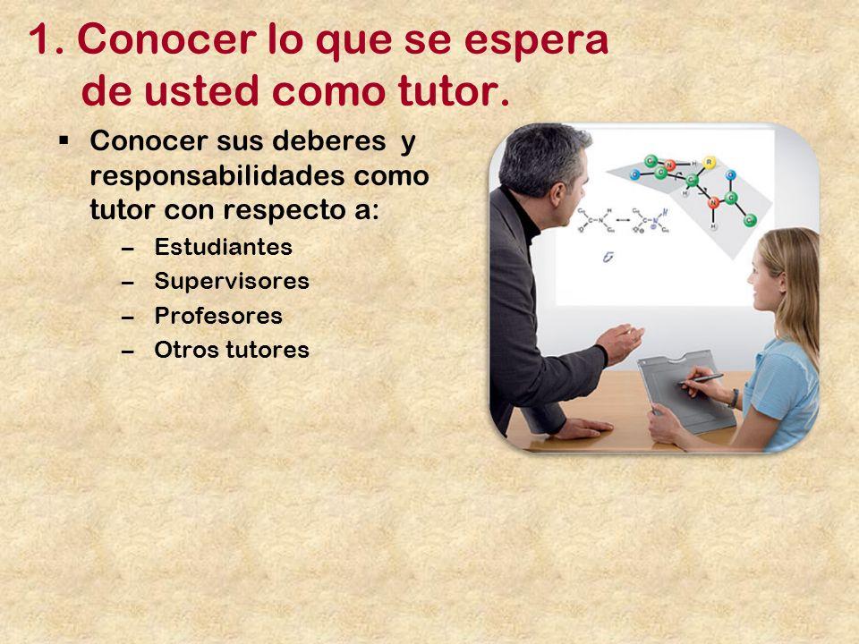 1. Conocer lo que se espera de usted como tutor.