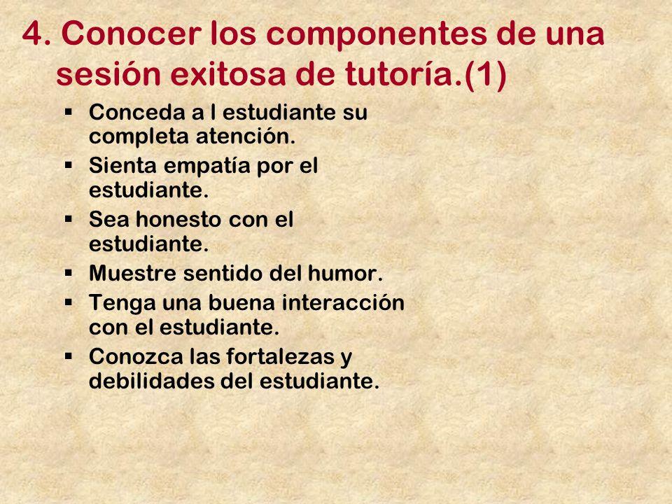 4. Conocer los componentes de una sesión exitosa de tutoría.(1)