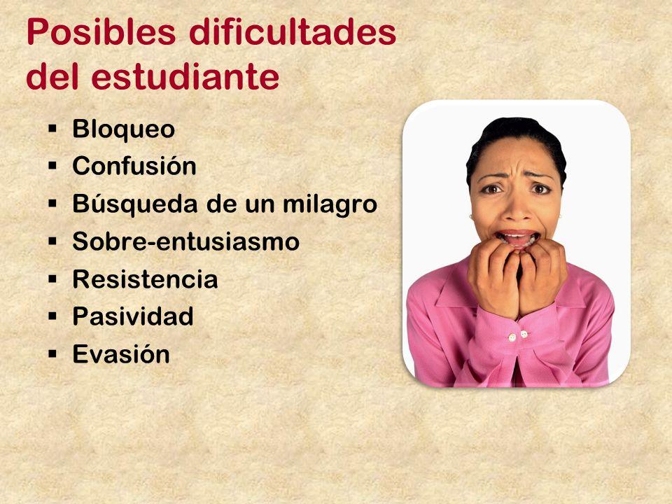 Posibles dificultades del estudiante