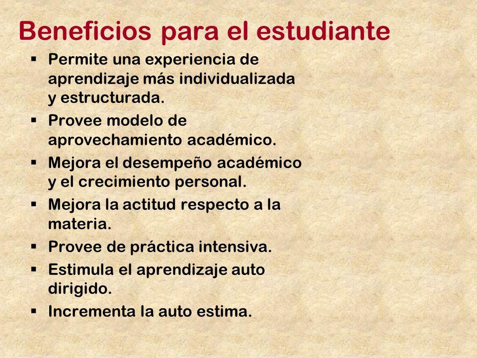 Beneficios para el estudiante