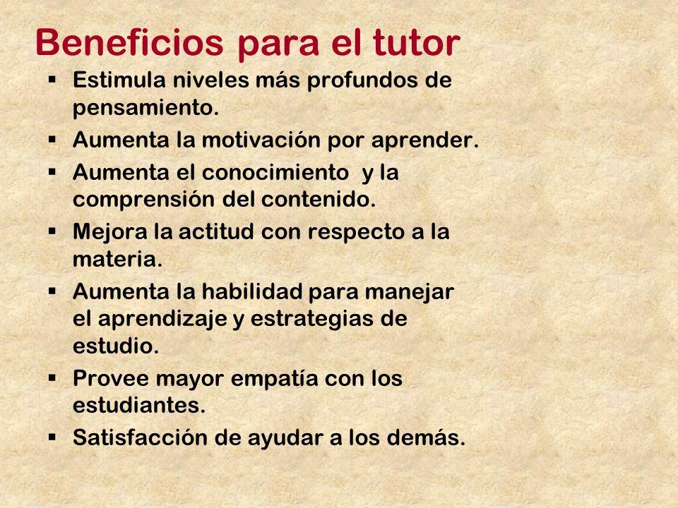 Beneficios para el tutor