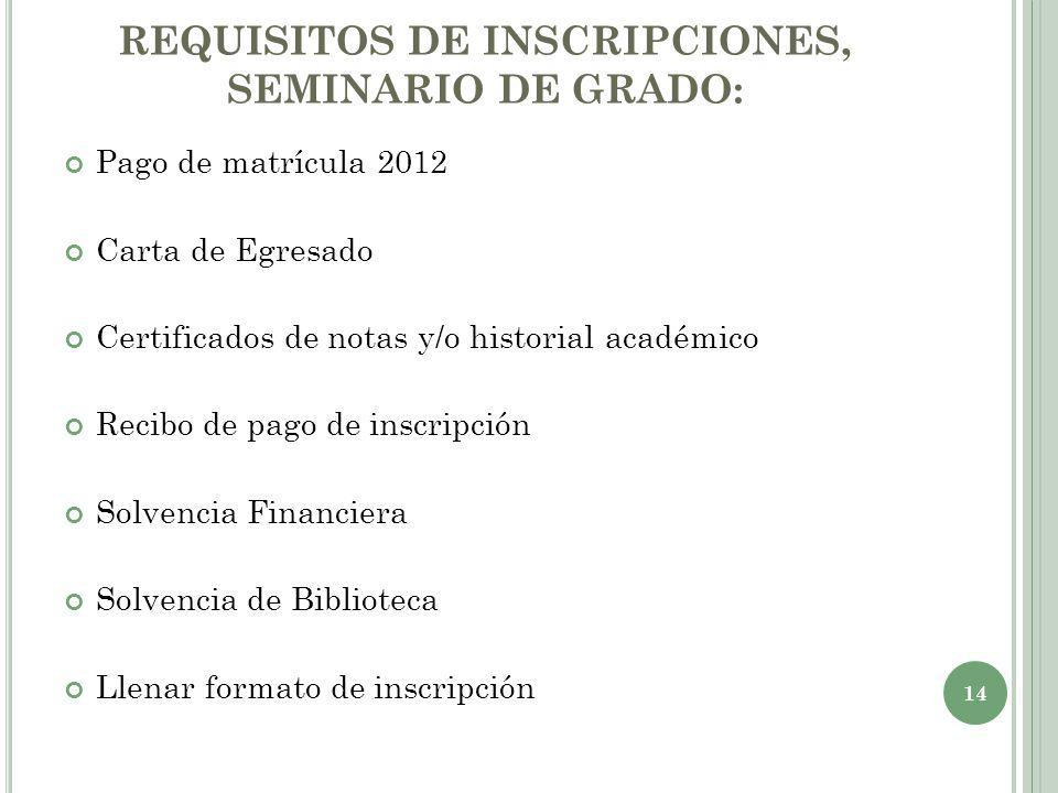 REQUISITOS DE INSCRIPCIONES, SEMINARIO DE GRADO: